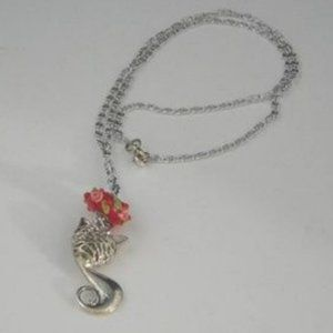 ❤️ Cat Charm Necklace Red Lampwork Flowers